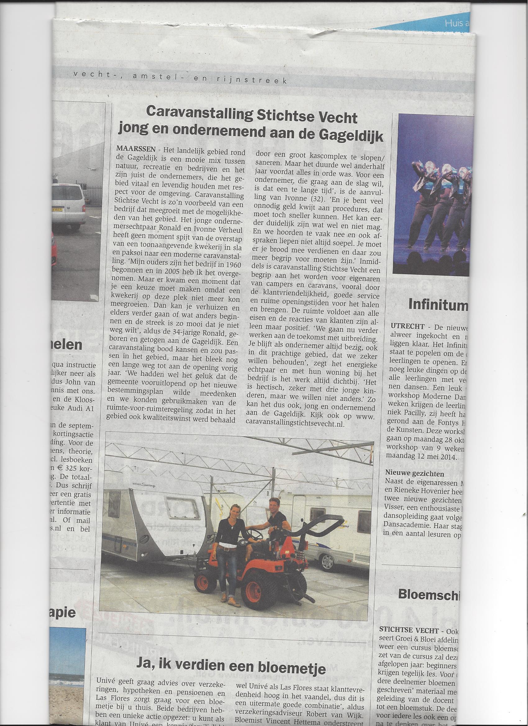 Krantenartikel over Caravanstalling Stichtse Vecht